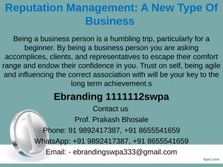 1.Reputation Management A New Type Of Business.ppt